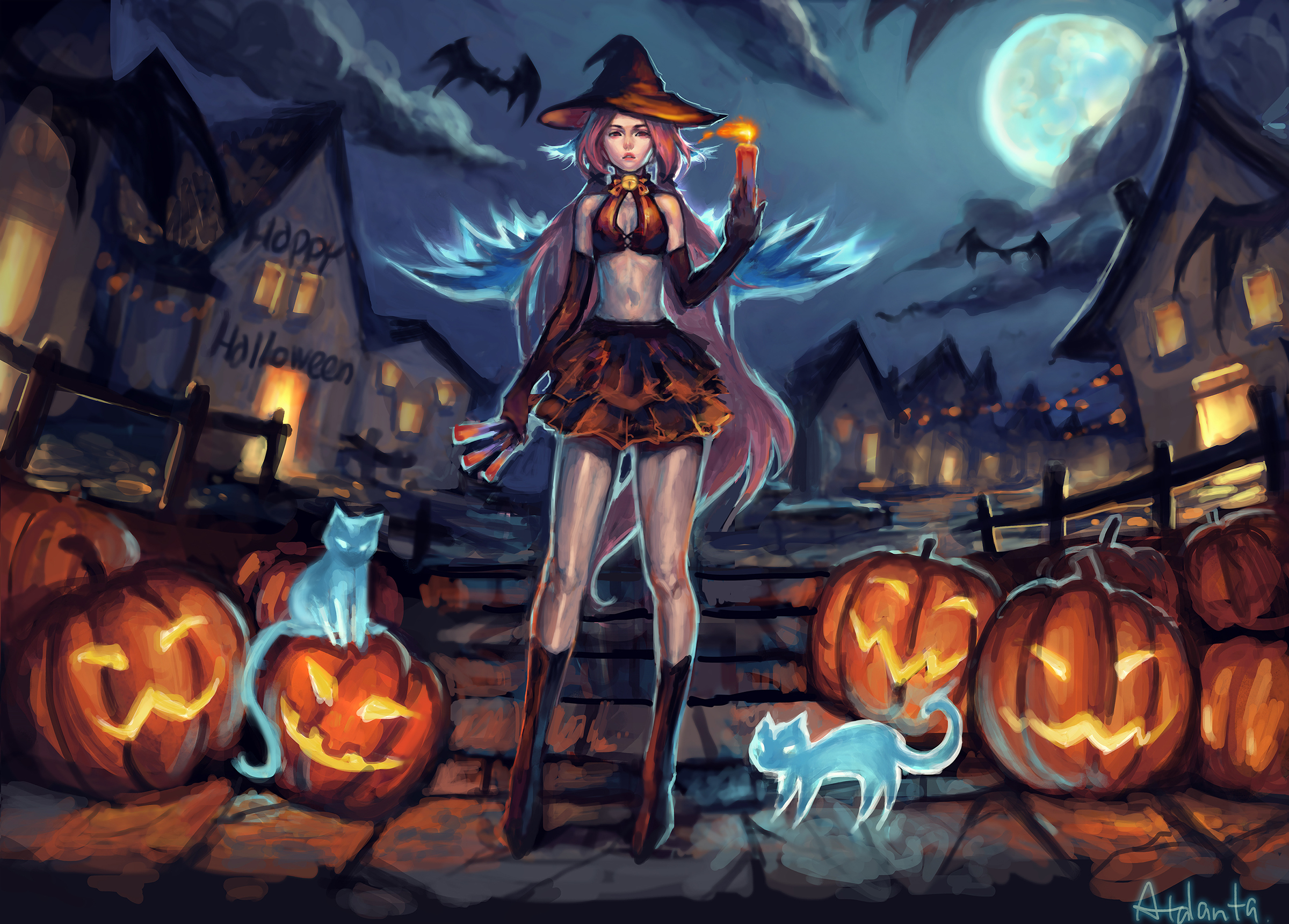 Fall Wallpaper For Large Monitors Halloween Hd Wallpaper Background Image 2400x1720 Id