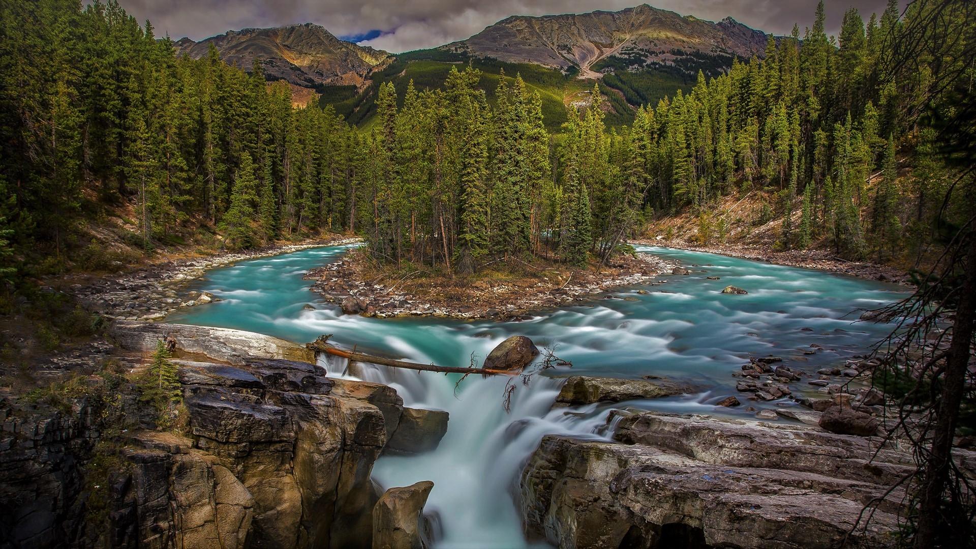 Numa Falls Wallpaper Sunwapta Falls In Jasper National Park Canada Hd