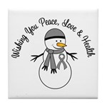 Christmas Snowman Grey Ribbon Tile Coaster