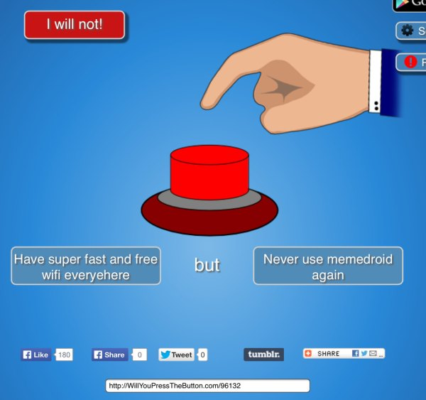 Tumblr Will You Press The Button Memes - Year of Clean Water