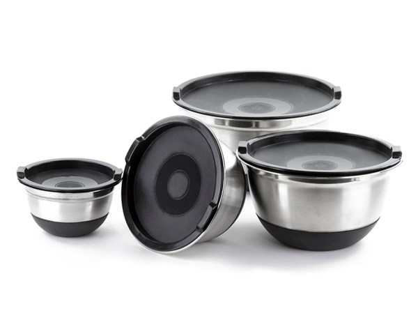4 Pcs Stainless Steel German Mixing Bowls Set With Lids & -skid Silicone Base