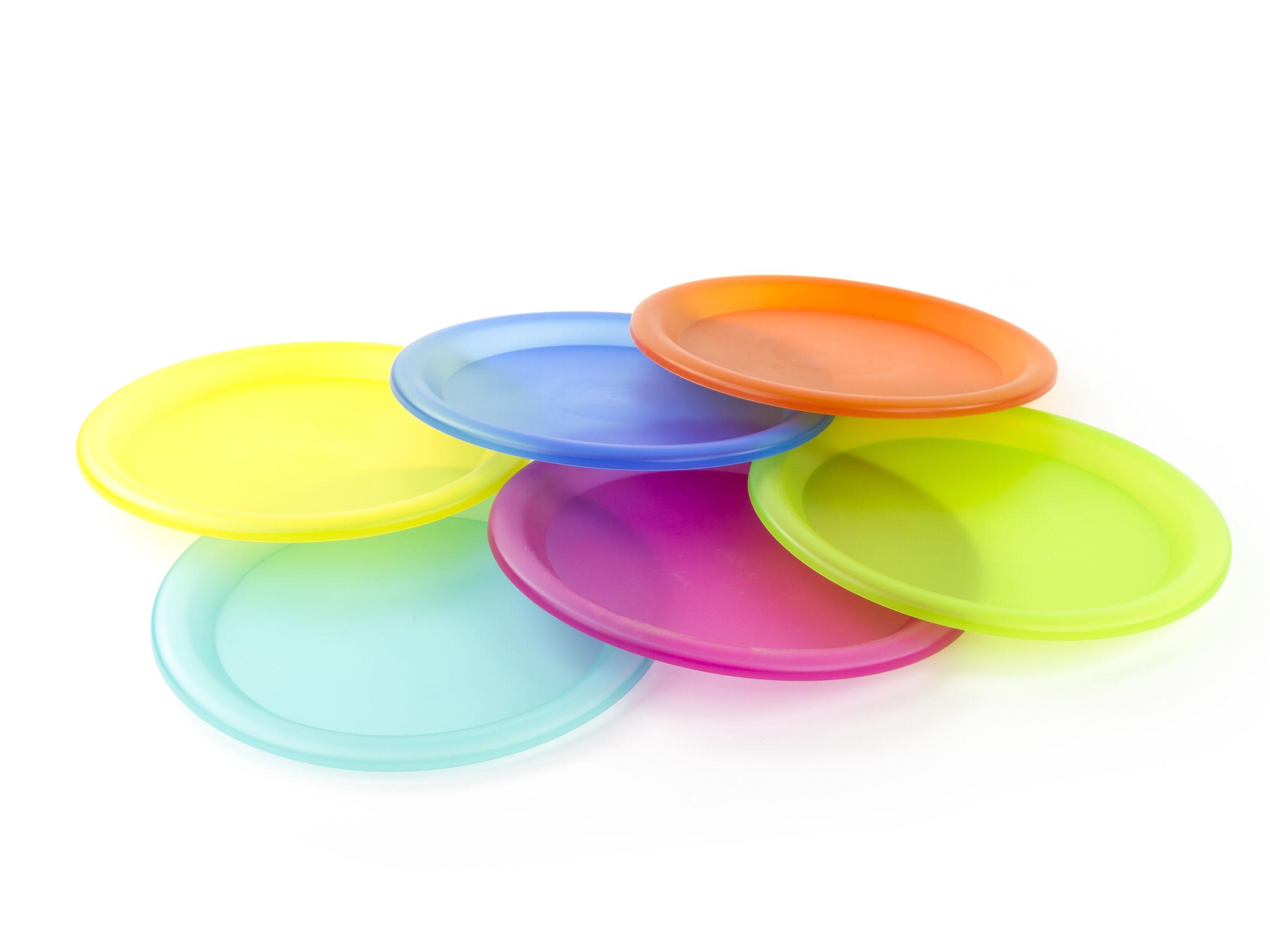 6 Pcs Reusable Plastic Picnic Plates Set in Assorted Colors