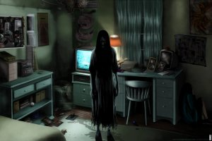 creepy ring ghost scary dark wallpapers horror evil spooky rooms shadow silhouette halloween fantasy games background backgrounds 2002 computer wallpaperup