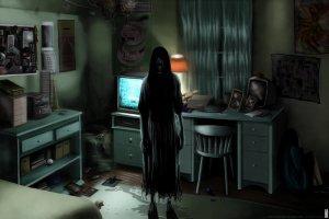 scary ring dark ghost horror rooms spooky halloween creepy games rings shadow evil silhouette fantasy psychological sadako poster bunshinsaba artistic