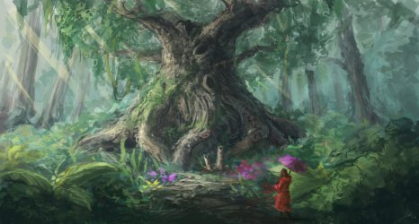 fantasy wallpapers hd wald schmetterlinge forest tree ancient oak woman hintergrund hintergrundbild