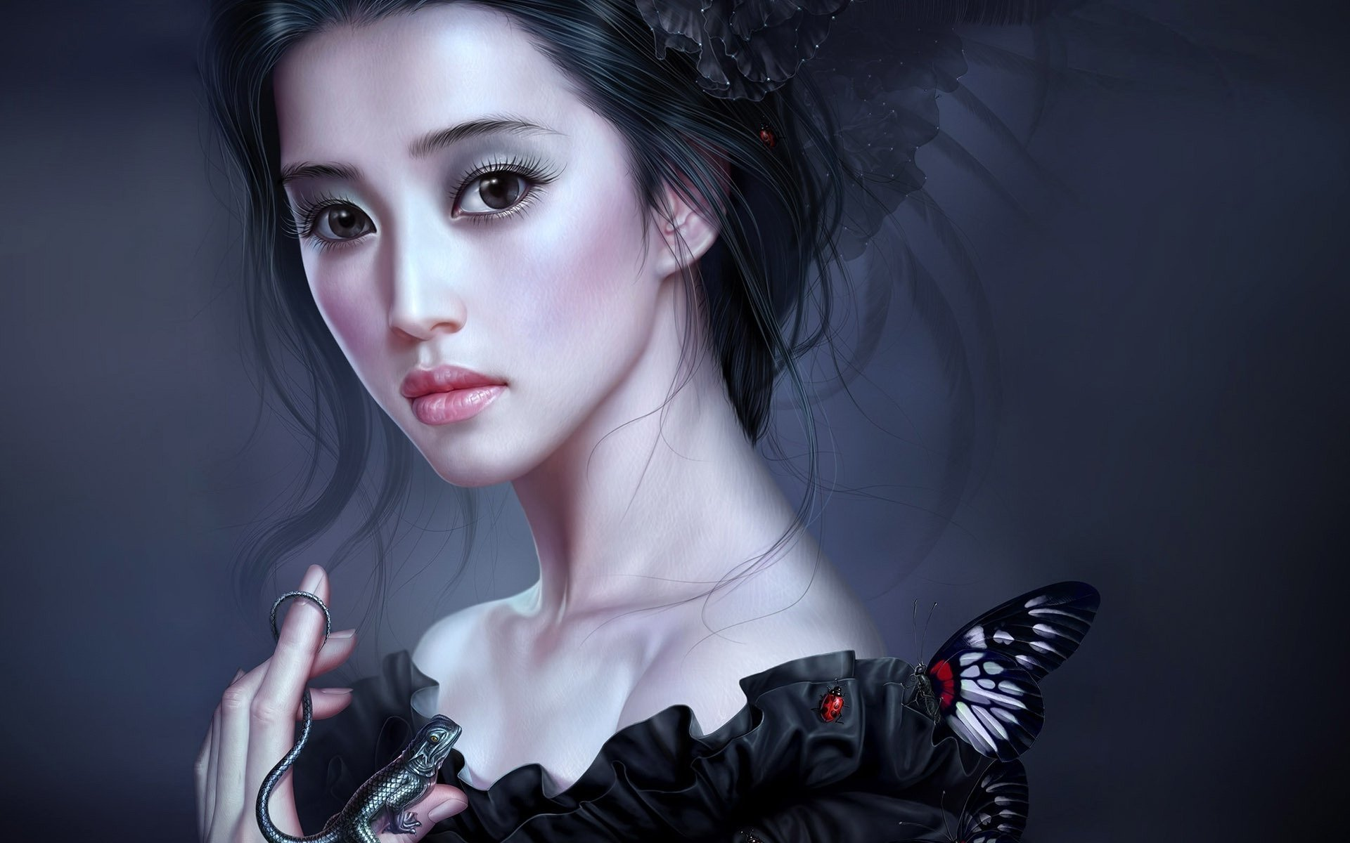 Goth Girl Wallpaper 1440x2960 Fantasy Girl With Butterfly And Lizard Hd Wallpaper