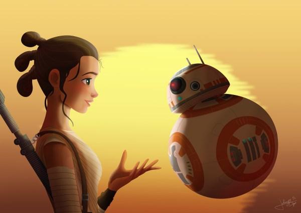 BB8 and Rey Star Wars Fan Art
