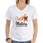 Kidney Cancer Faith Matters Women's V-Neck T-Shirt