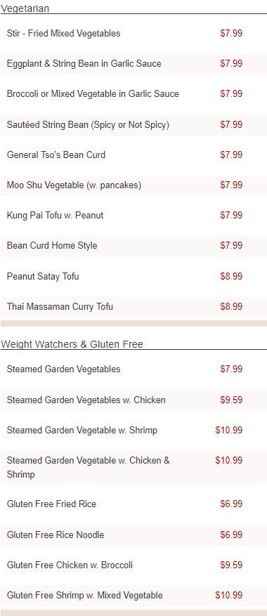Thai & Malaysian Cuisine at Green Tea Chinese Restaurant
