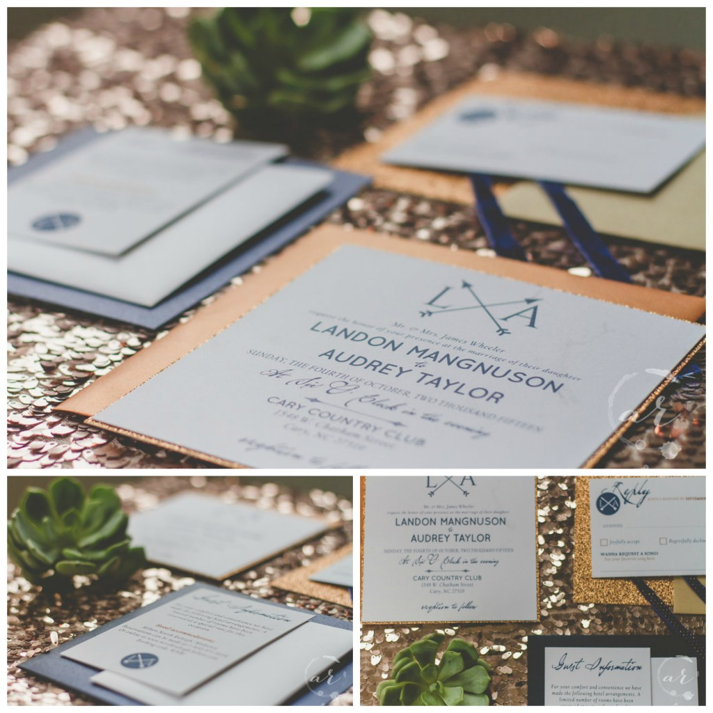 wedding invitation navy copper