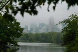 Central Park, skyline, NY, lake, mirror