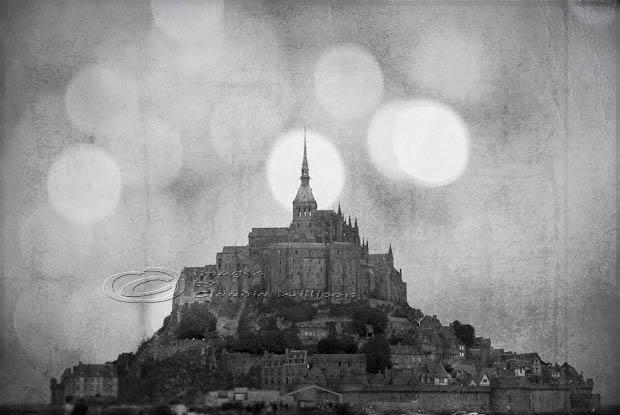 Mont St. Michel, France, monastery, cloister, island, Normandy, bokeh