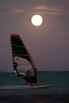 full moon, windsurfing, bonaire