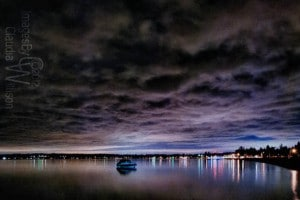 Birch Bay, night, reflection, hdr, clouds, boats