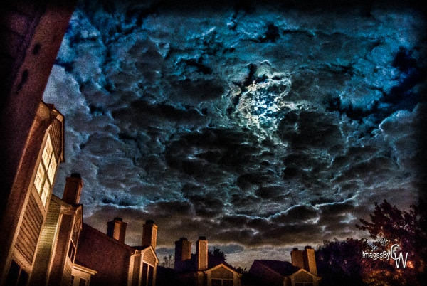 full moon, clouds