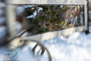 bench, snow, winter, lensbaby