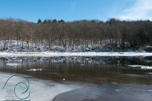 Ice on/by the Delaware River reflection