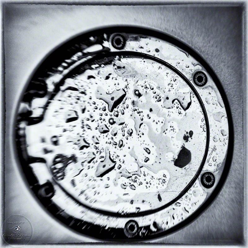 Miata, tank cap, rain, raindrop, black & white, NIK, monochrome