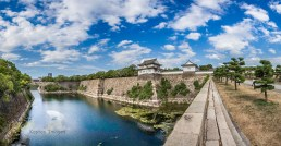 Osaka Castle west entrance. I took several photos but IMHO a Stitched Panorama is what does this view justice. Great place to be. Osaka, Japan.