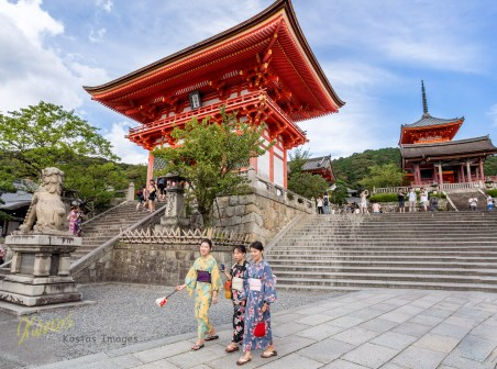 Girls in their Yukata, having a stroll at the famous site. You can see girls in traditional clothes, all over town Kyoto, Japan.