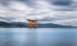 """Another Long exposure of the famous Shrine, from inside the water while the tide was going up! Some times you got to """"dive"""" in the photo, to get the result you want. Itsukushima Island, Hiroshima, Japan"""