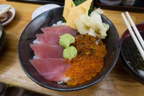 Gigantic Salmon Roe and fresh wasabi, these were the main differencies from the regular Sushi in Tsukiji market. The taste: beyond description. Tokyo, Japan.