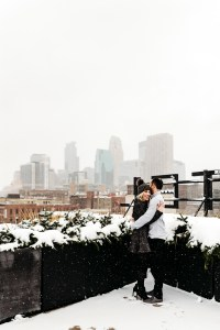 minneapolis wedding photography hewing hotel rooftop winter engagement