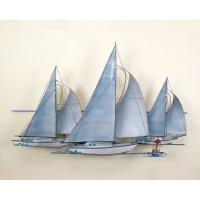 At The Races,Three Sail Boats, Race, Wall Art, Wall Hanging