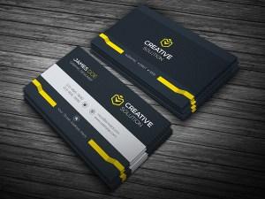Dark Stylish Business Card Template Yellow