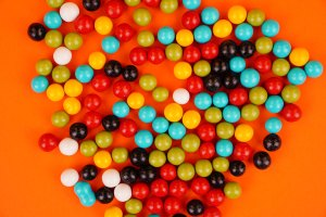 Delicious colorful chocolate candies stock photo
