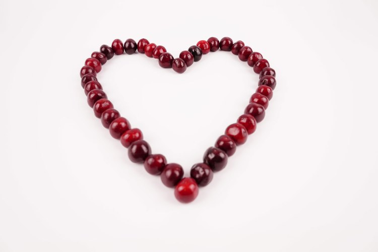 Heart shape with cherries stock image