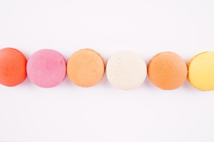 Top view assorted colorful macaroons