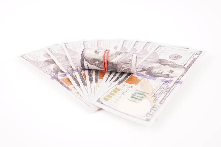 100 dollar bills isolated