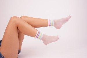 Fashionable white socks stock image