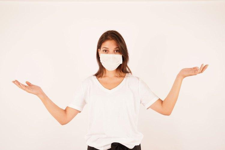 Beautiful woman wearing medical mask