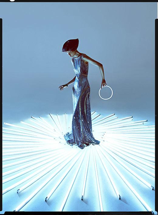 wang xiao13 Wang Xiao Lights Up for Harpers Bazaar China Art by Charles Guo