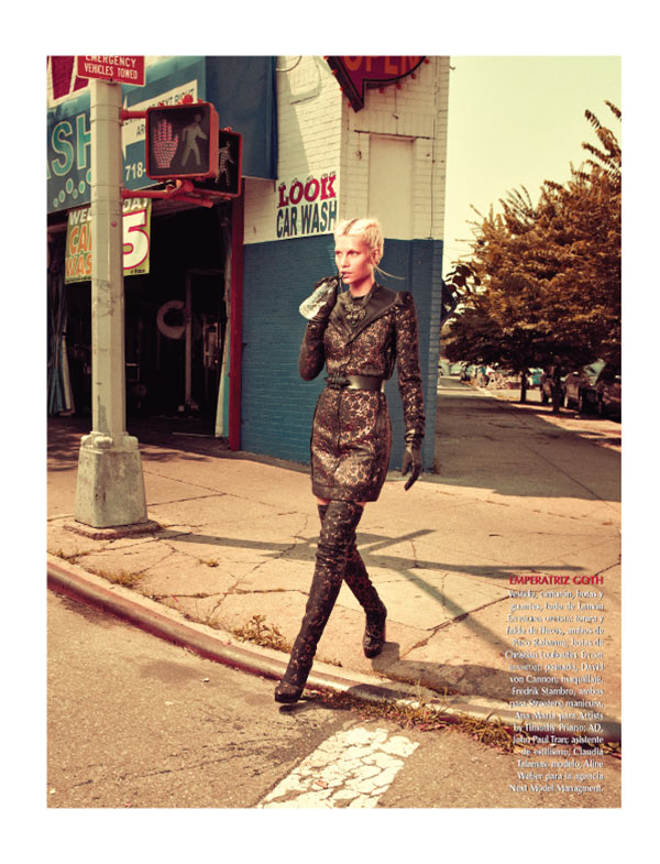 aline weber7 Aline Weber Dons Fashion with Edge for Vogue Mexico November 2012 by Andreas Sjodin