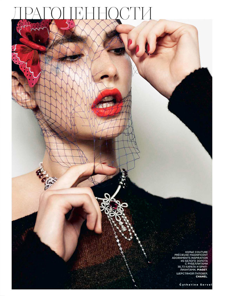 jacquelyn jablonski4 Jacquelyn Jablonski Shines in Couture for Vogue Russia October 2012 by Catherine Servel