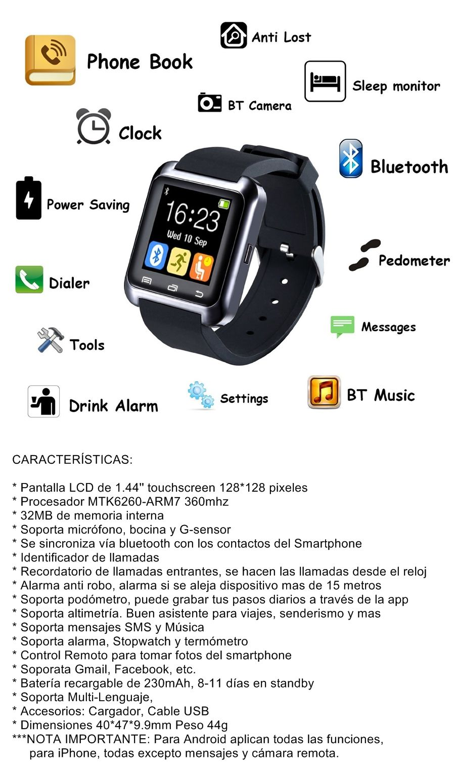 Smart Watch U8 Iphone Ios Android Reloj Inteligente