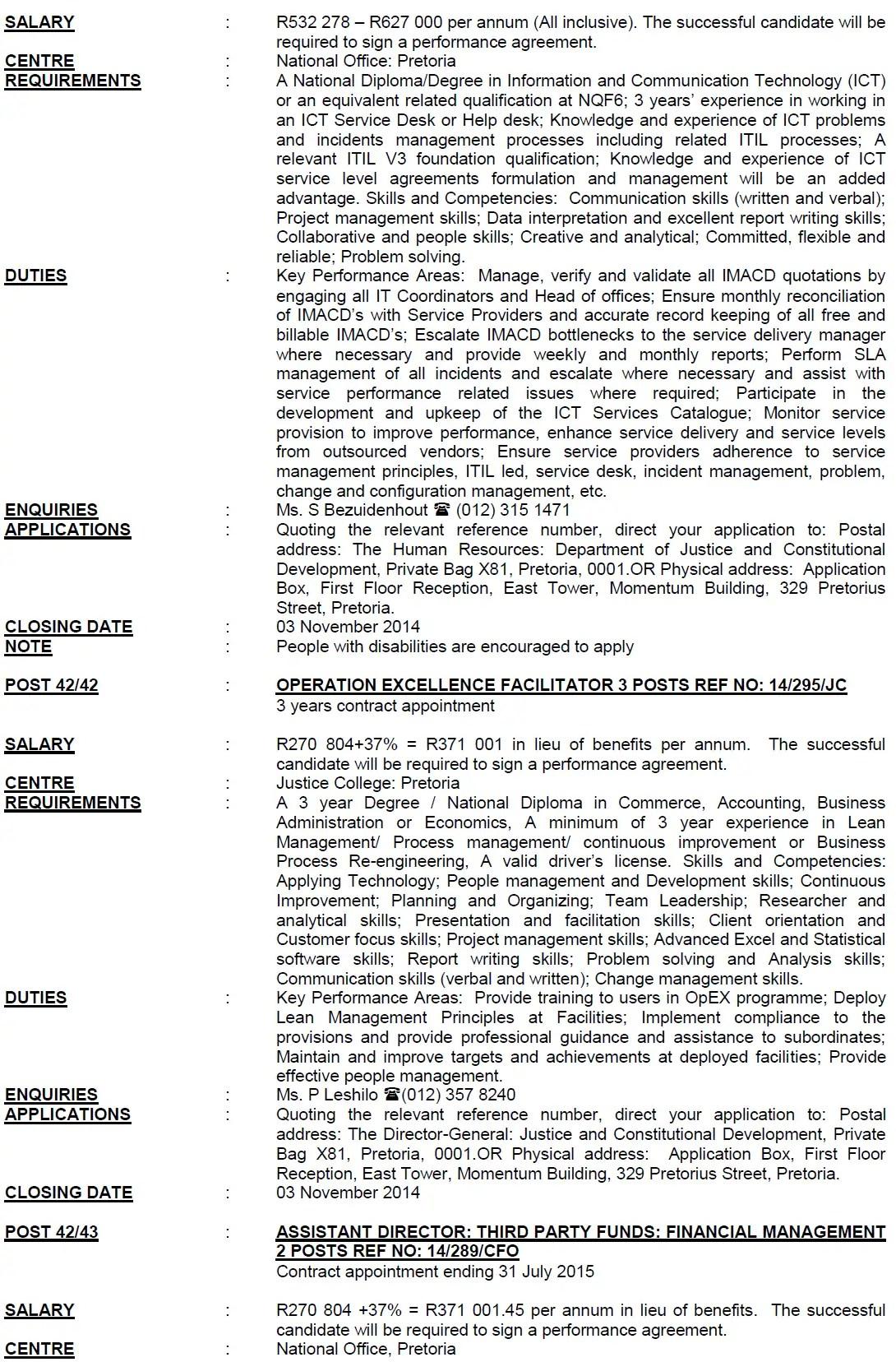 DPSA Vacancies: Justice and Constitutional Development