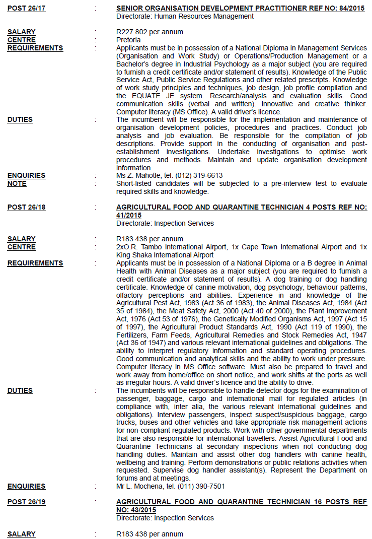 Agriculture, Forestry and Fisheries Circular 26 Of 2015