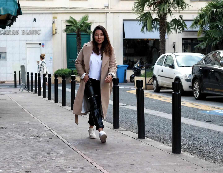 manteau camel, camel, sac inspi chanel, manteau h&m, zara, sheinside, pantalon simili cuir, pantalon simili zara, the green ananas, blogueuse mode, fashion blogger, chemise leopard, leopard, camel