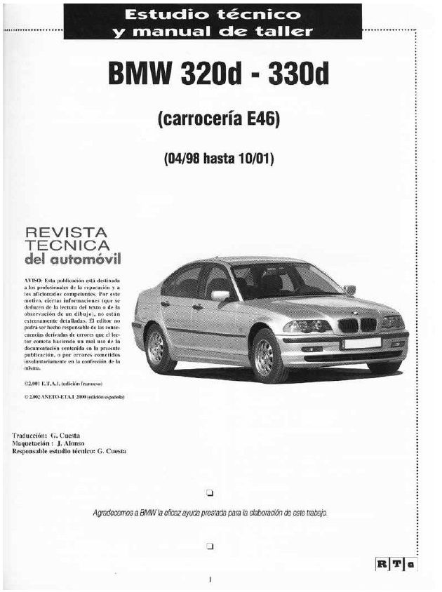 MANUALE OFFICINA BMW SERIE 3 E46 320D 330D 1998 2001