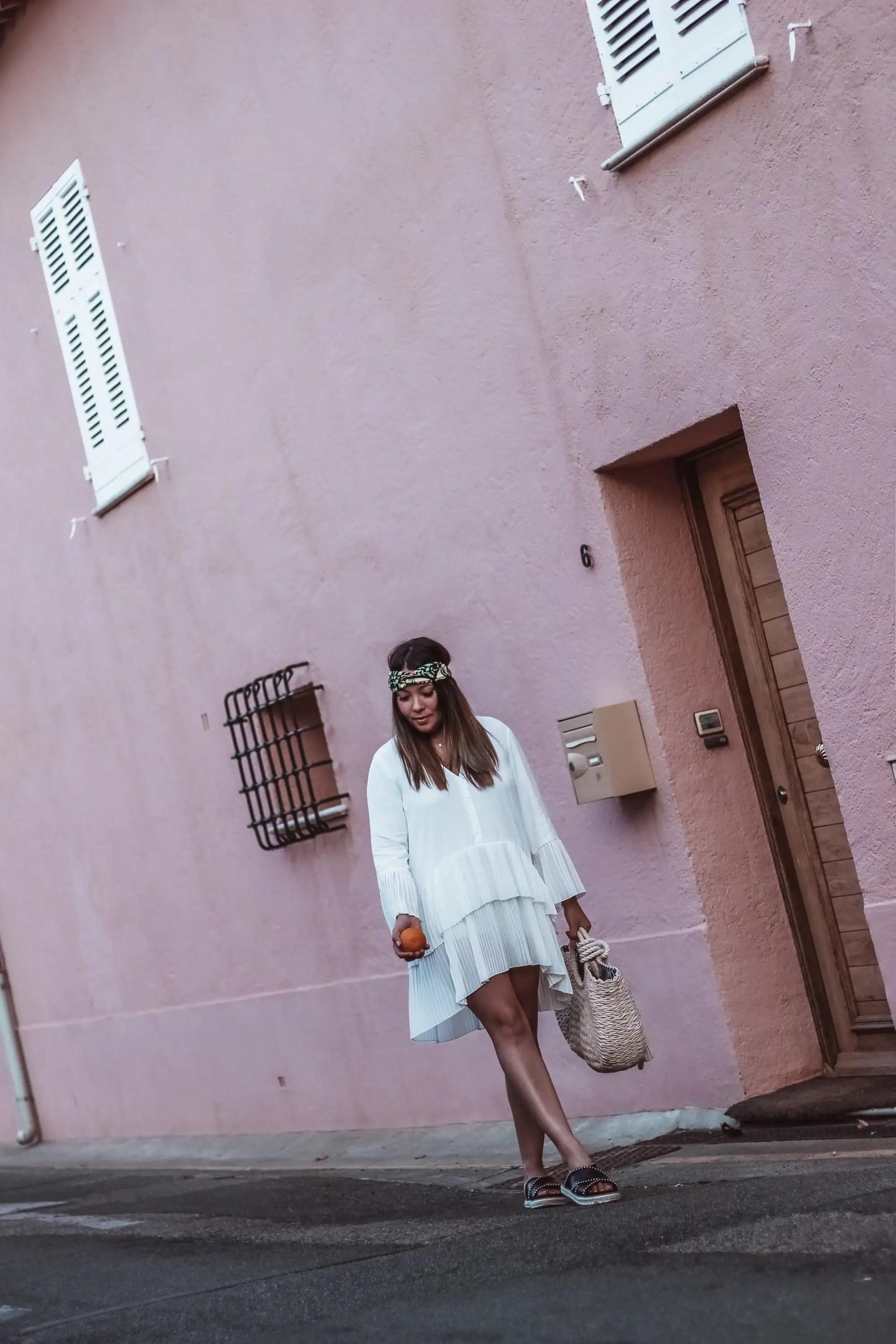 the green ananas, robe blanche femme, zara, style boheme, panier osier, blog mode, blogueuse française, pinterest, mode femme, feel like summer