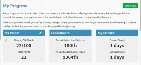 Rocket Italian Progress