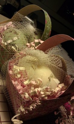 2 eggs in a little paper basket for $5.00 - Makes a nice alternative to candy for Easter or mothers day.