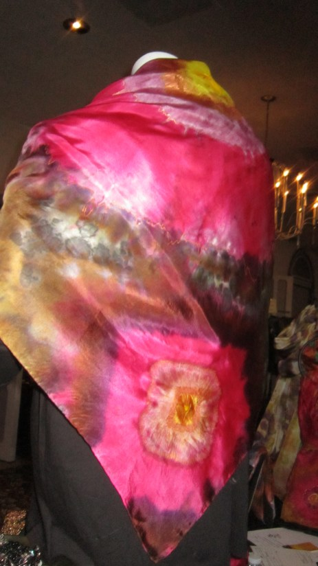 Autumn Rose 4 ft square scarf/shawl/cape. It is accented in copper metallic resist.