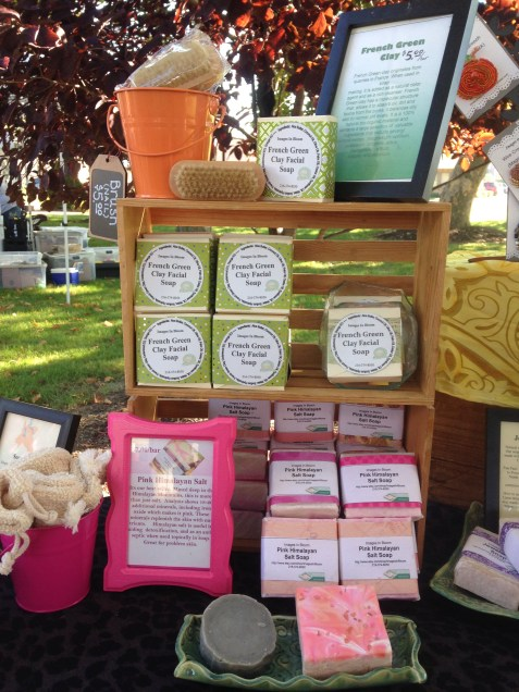 Our famous pink himalayan salt soap and our french green clay soap will be available.