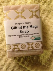 Gentle cold processed soap scented with frankinscents, myrrh, patchouli, and gold mica powder