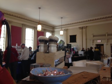 view from behind our booth... yes, candy bowl full of chocolate